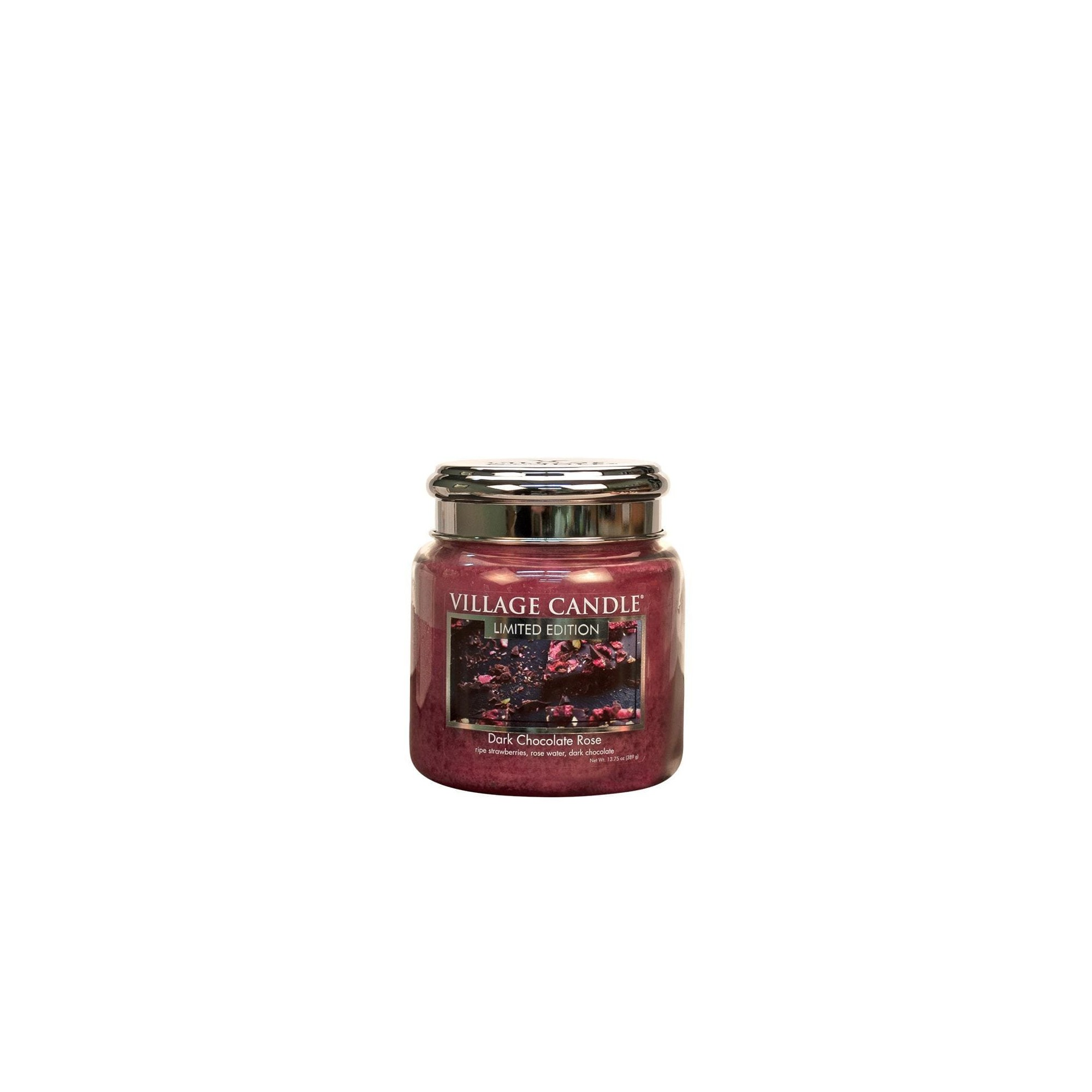 Village Candle Dark Chocolate Rose Medium Glass Jar