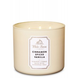 Bath & Body Works White Barn Cinnamon Spiced Vanilla 3 Wick Scented Candle