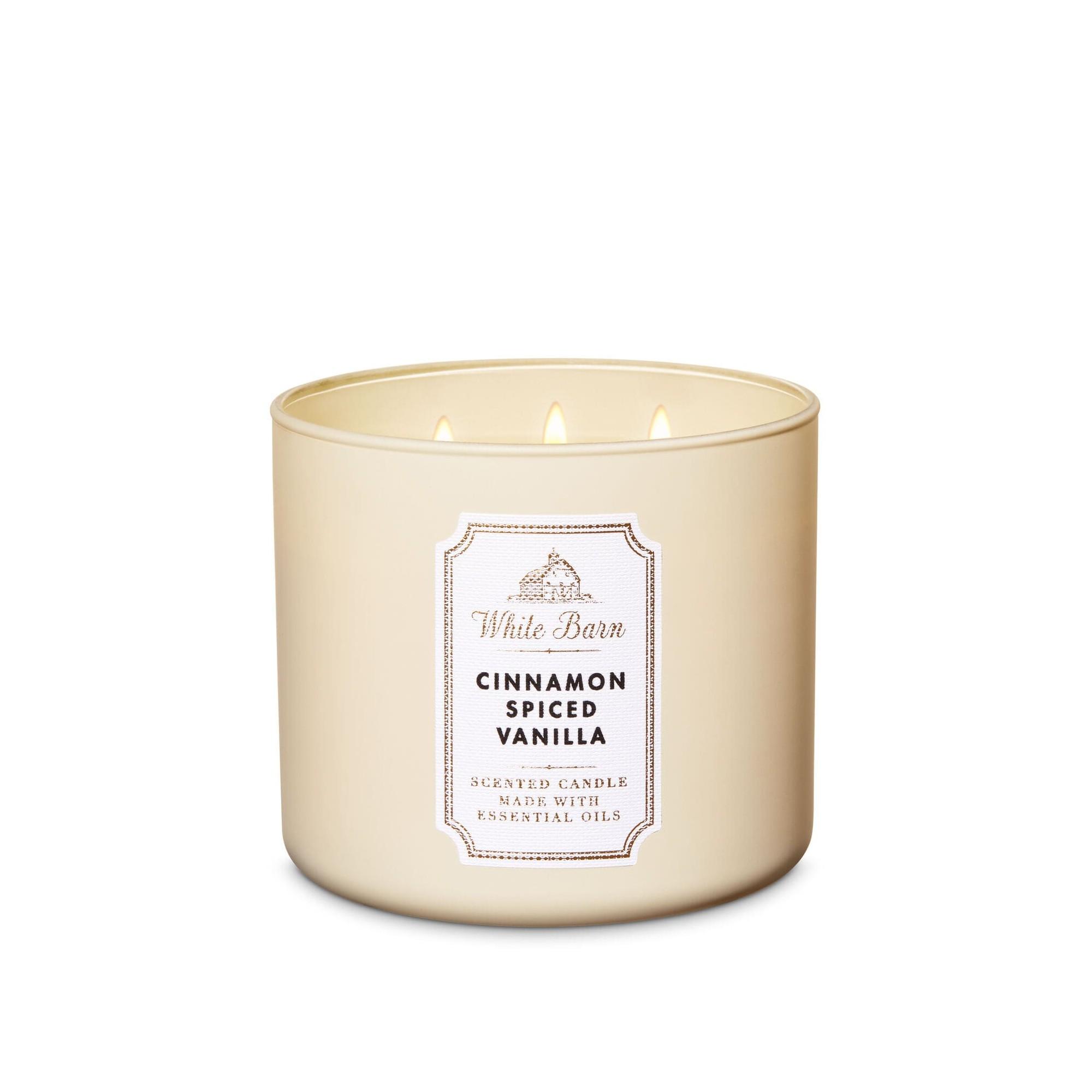 Bath & Body Works White Barn Cinnamon Spiced Vanilla 3 Wick Scented Candle