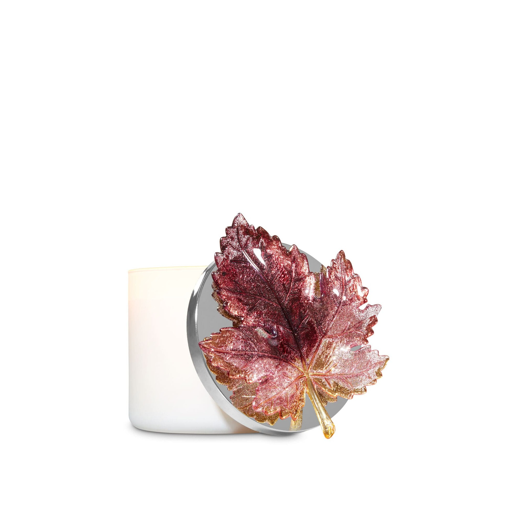 Bath & Body Works Glittery Burgundy Leaf 3-Wick Candle Magnet
