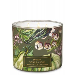 Bath & Body Works White Barn Vanilla Sage 3 Wick Scented Candle