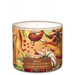 Bath & Body Works White Barn Sweet Cinnamon Pumpkin 3 Wick Scented Candle