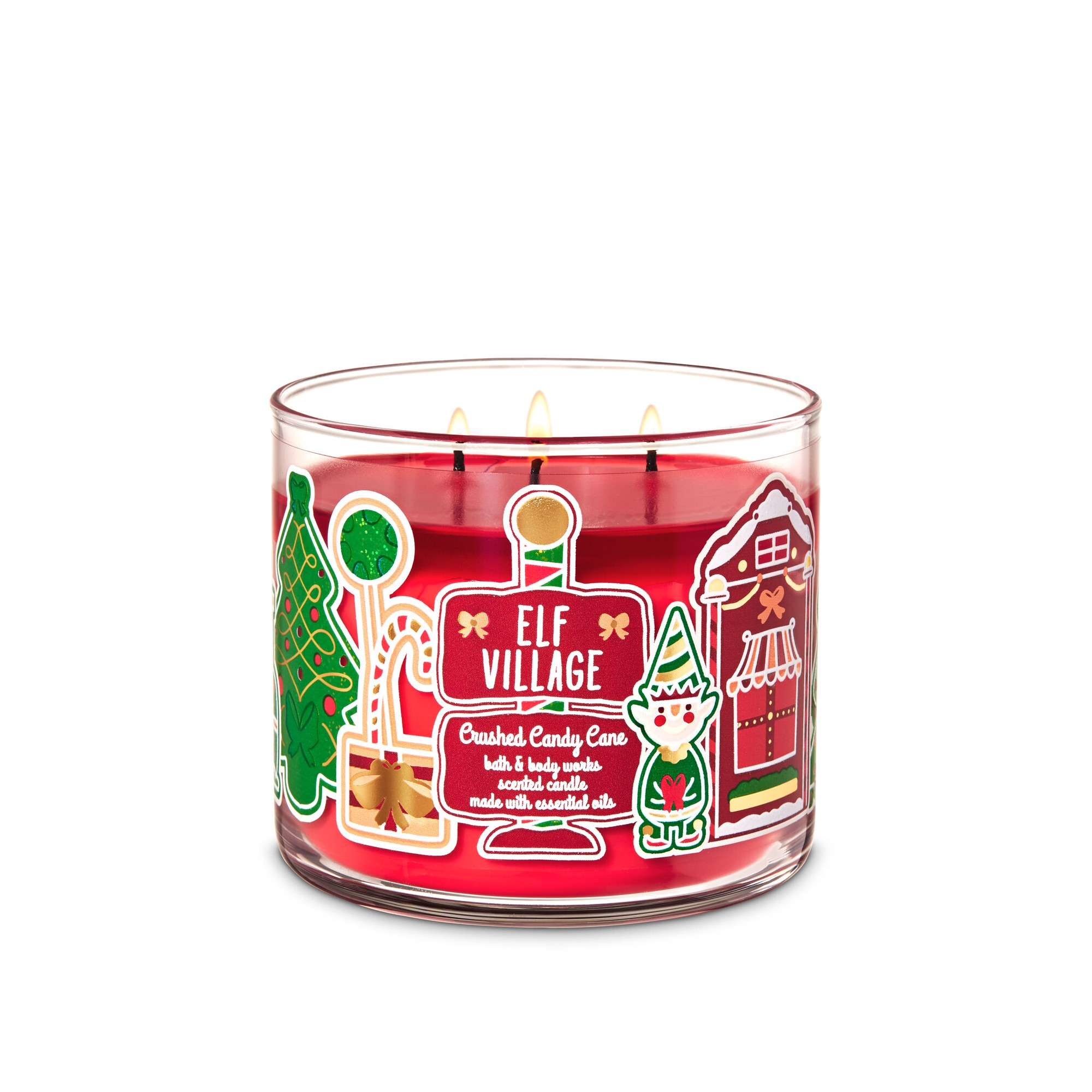 Bath & Body Works Elf Village Crushed Candy Cane 3 Wick Scented Candle