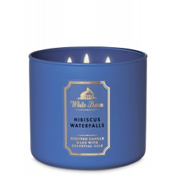 Bath & Body Works White Barn Hibiscus Waterfalls 3 Wick Scented Candle
