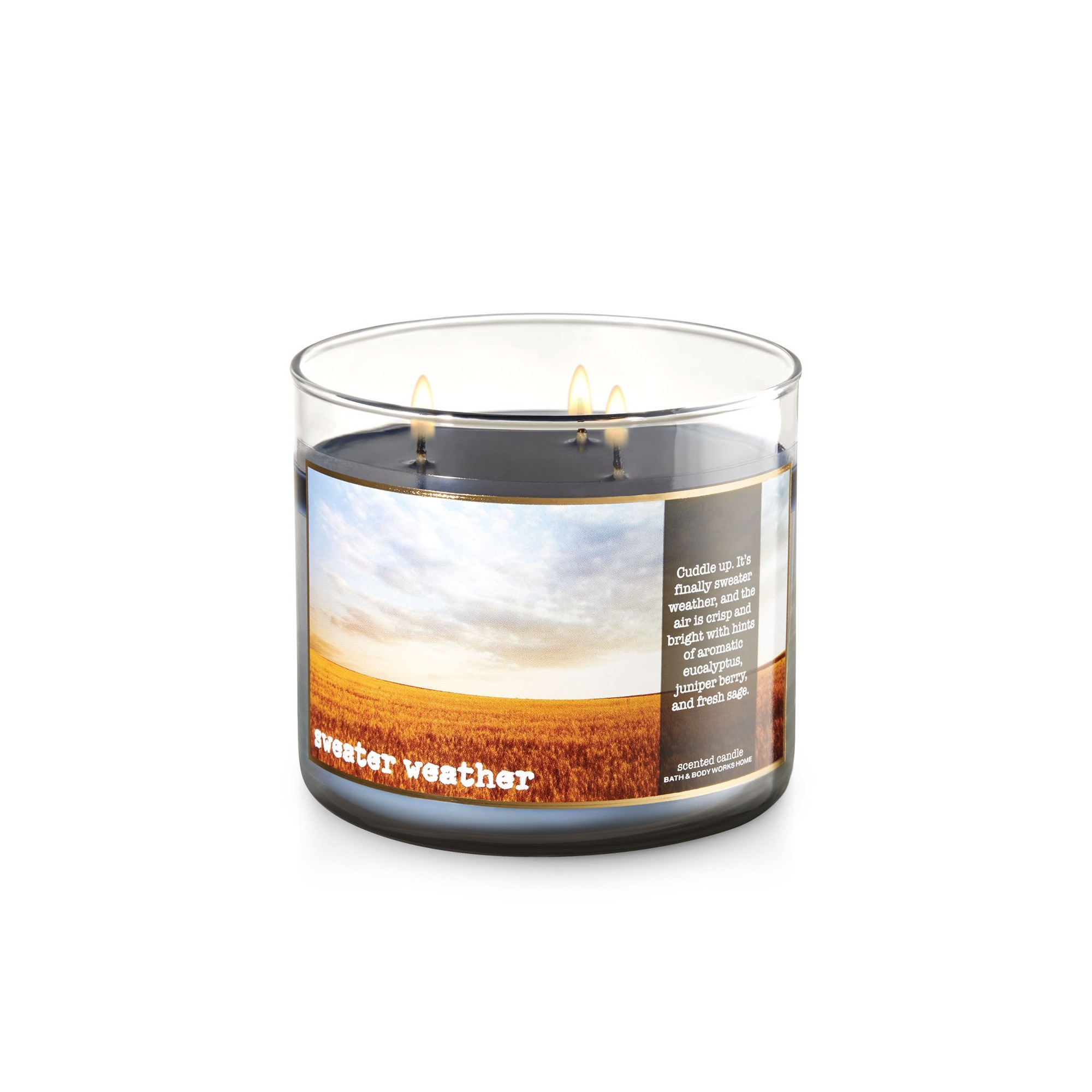 Bath Body Works Sweater Weather 3 Wick Scented Candle Bougie