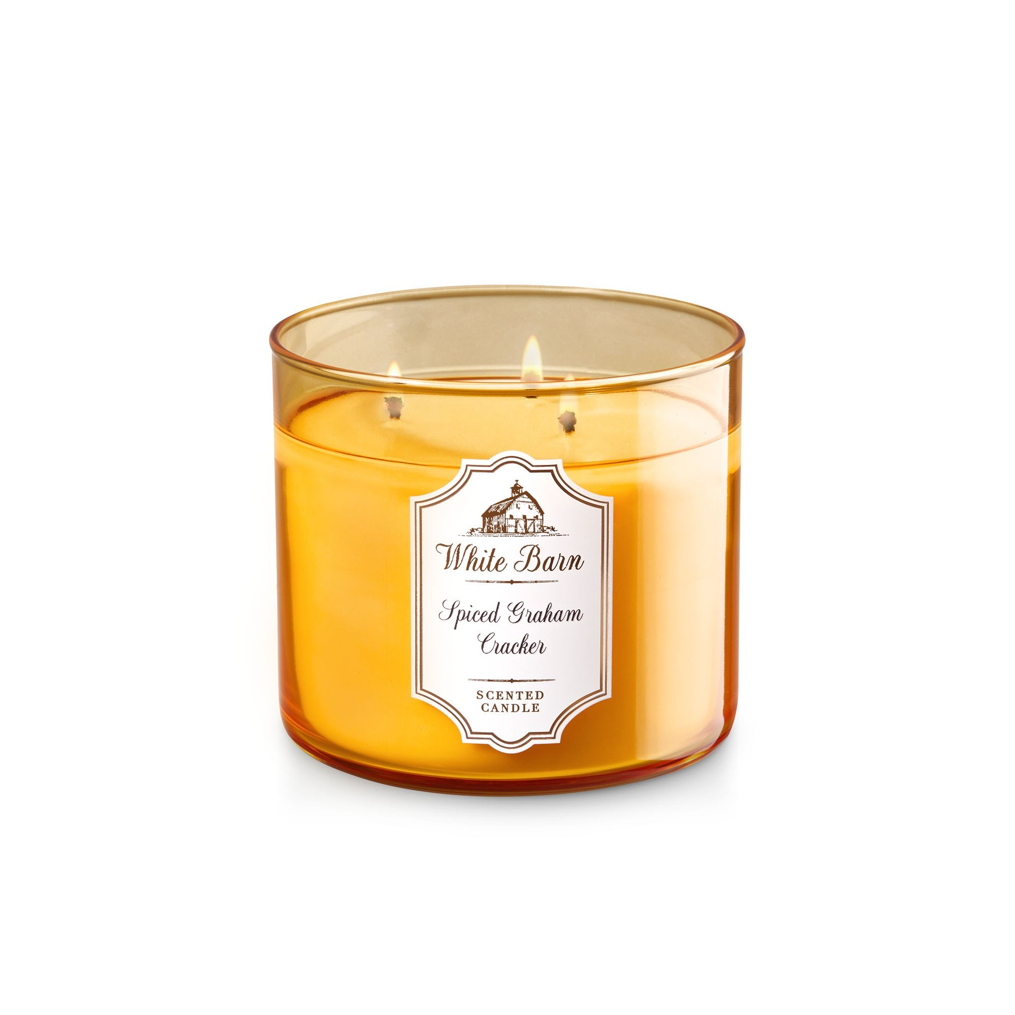 Bath & Body Works White Barn Spiced Graham Cracker 3 Wick Scented Candle
