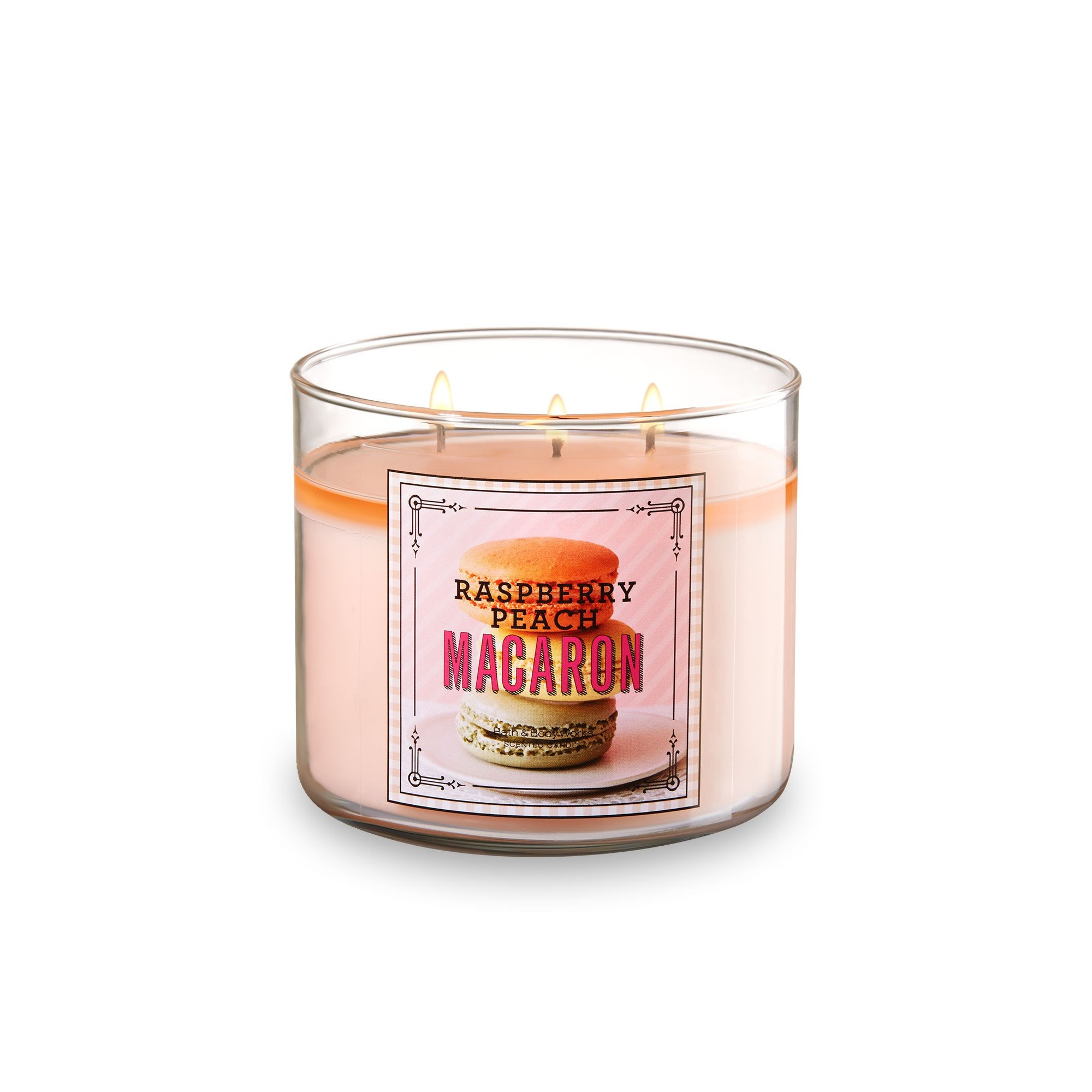 Bath & Body Works Raspberry Peach Macaron 3 Wick Scented Candle