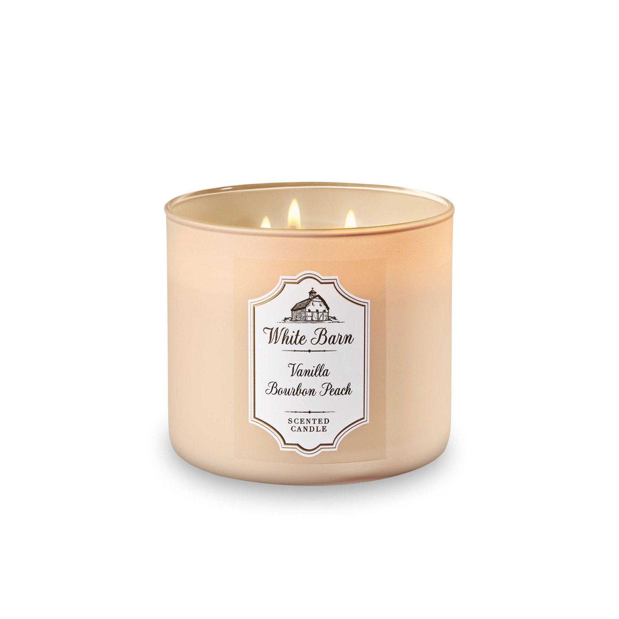 Bath & Body Works White Barn Vanilla Bourbon Peach 3 Wick Scented Candle