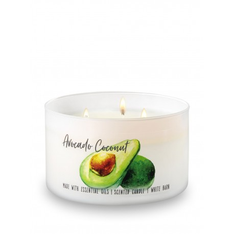 Bath & Body Works White Barn Avocado Coconut 3 Wick Scented Candle