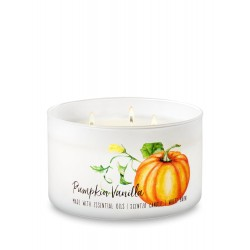 Bath & Body Works White Barn Pumpkin Vanilla 3 Wick Scented Candle