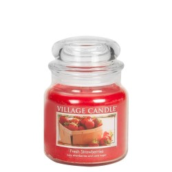 Village Candle Fresh Strawberries Medium Jar Glass