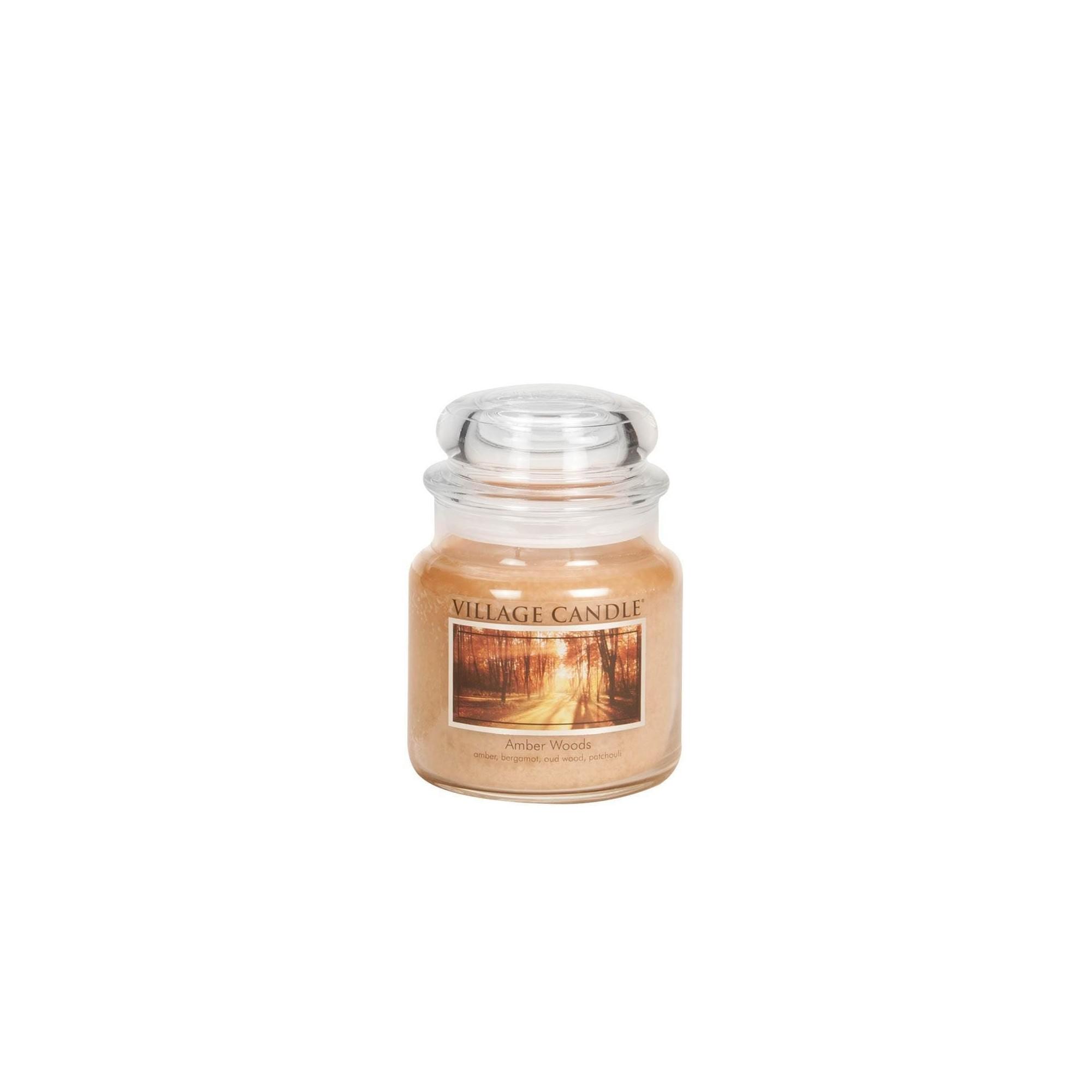 Village Candle Amber Woods Medium Jar Glass