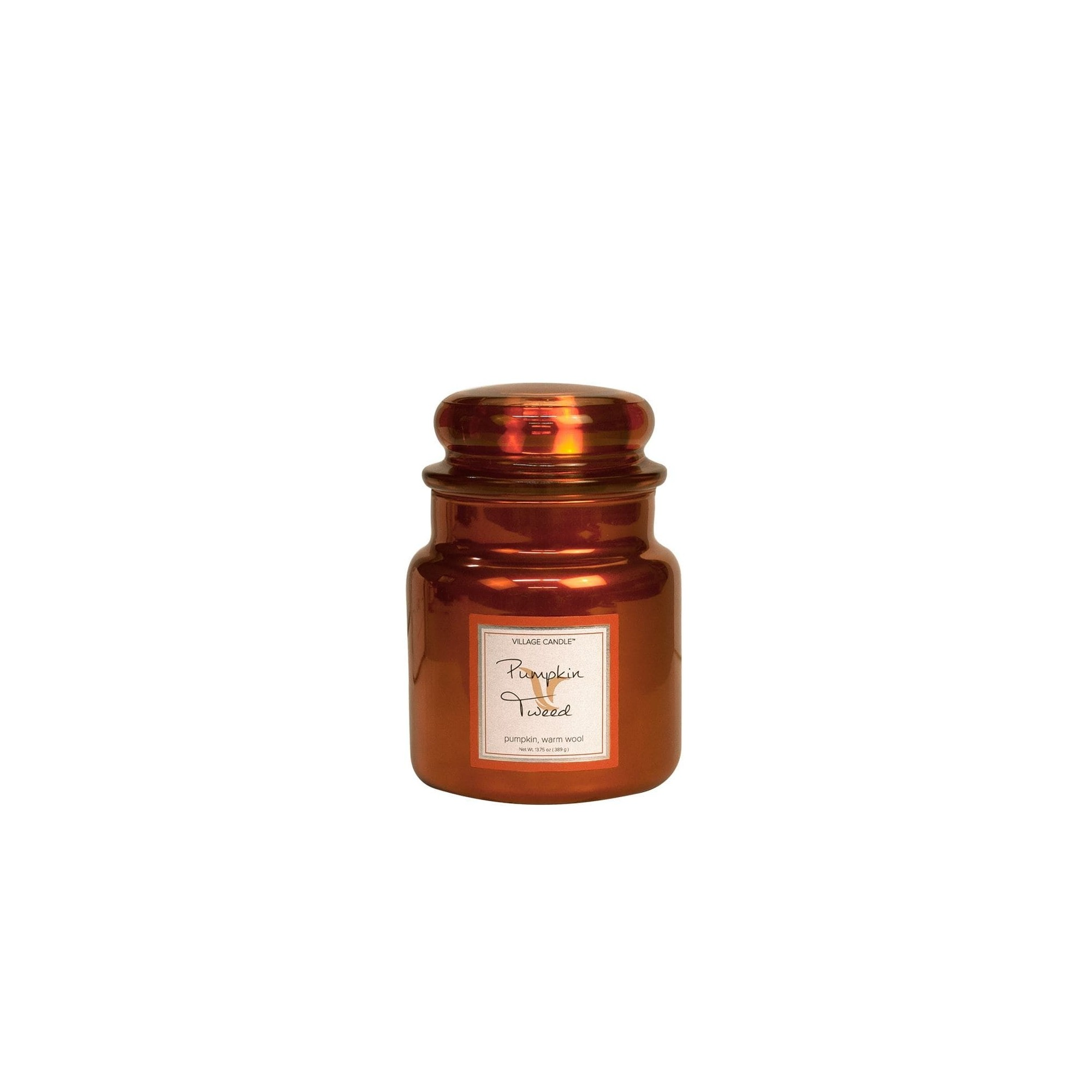 Village Candle Pumpkin Tweed Metallics Medium Jar Glass