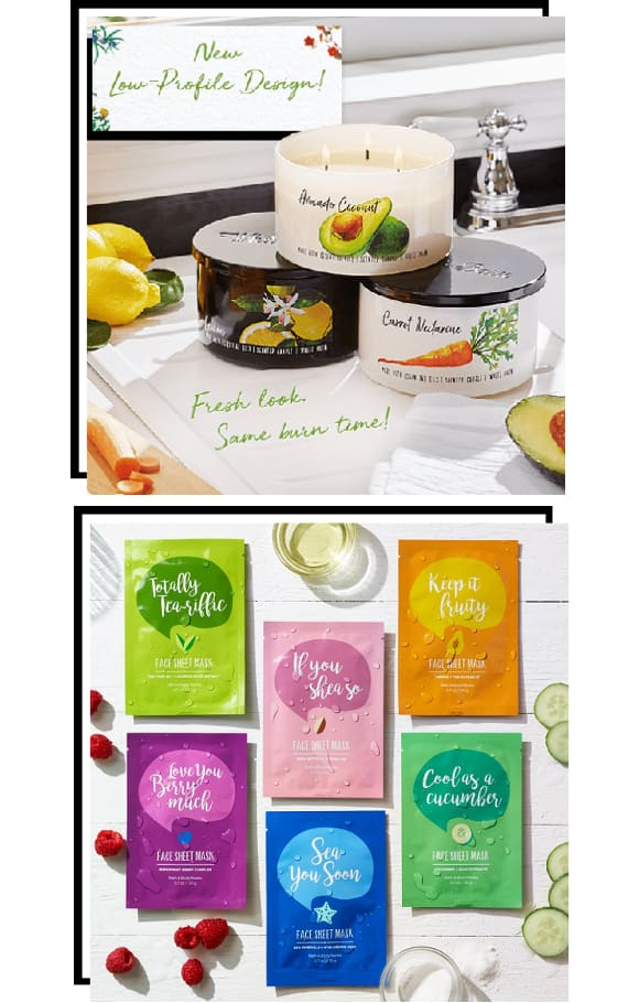 Bath & Body Works Nouvelles Bougies Parfumées Scented Candles 3 Wick Low Profile 3 Meches Face Sheet Mask Masque Visage Soin